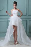 Schönes Trägerloses High Low Perlen Applikation Organza Brautmode