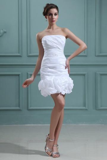 Dressesmall Taffeta Strapless Beading Ruffle Short Formal Gown