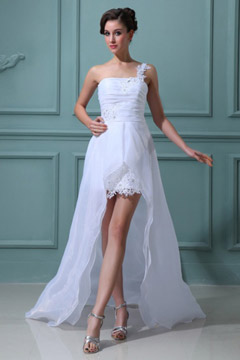 Keighley Organza One Shoulder Flower Ruffle Bridal Gown Wedding Gown