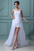 Organza One Shoulder Flower Ruffle Wedding Dress