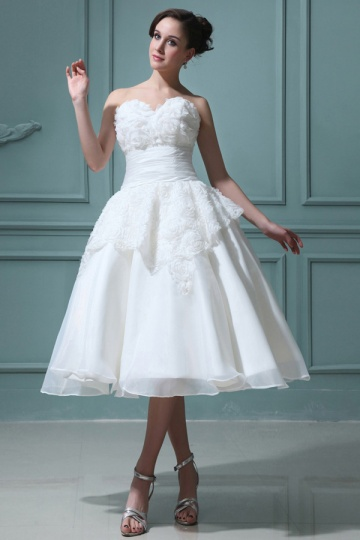 Organza Sweetheart Ruffle Floral Backless Wedding Dress
