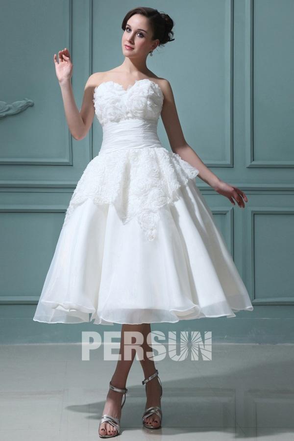 Organza Sweetheart Ruffle Floral Backless Wedding Dress