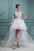 Edeles High Low Ärmelloses Perlen Blume Schnürung Brautkleid