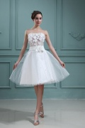 Tulle Strapless Applique Beading Wedding Dress