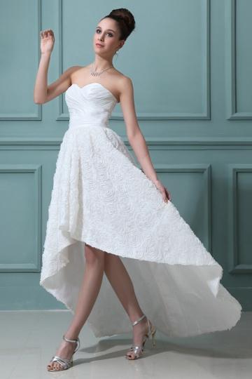 High Low Ärmelloses Großartiges Herz Ausschnitt Taft Brautkleid Persun&Brautkleid für sanduhrförmige Figur/Siloutette