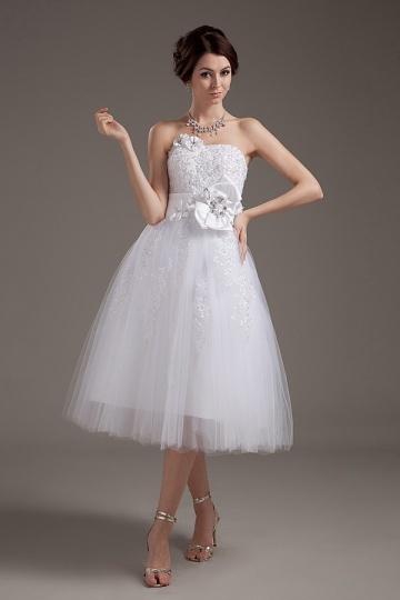Herz Ausschnitt A Linie Perlen Applikation Blume wadenlanges Brautkleid Persun
