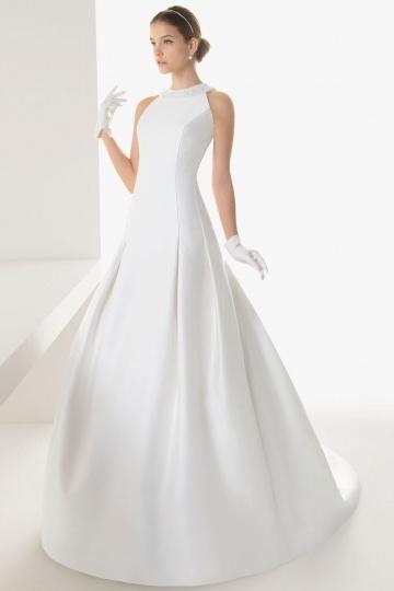 Schlichtes langes Brautkleider