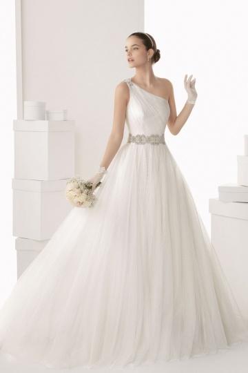 Chic ein Schulter langes Brautkleider