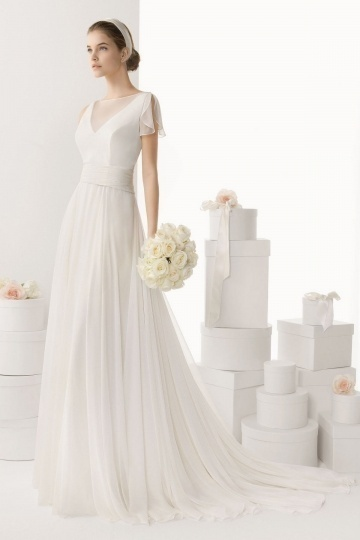Elegant Sheer V neck Brush Train Cheap Wedding Dress UK