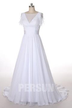 Simple Robe de mariée à coupe fluide avec le jeu transparent