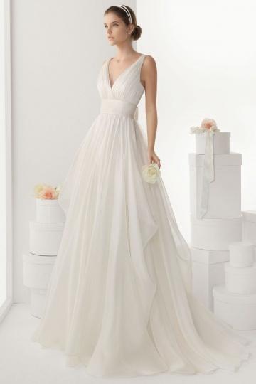 V Ausschnitt langes weißes Brautkleider