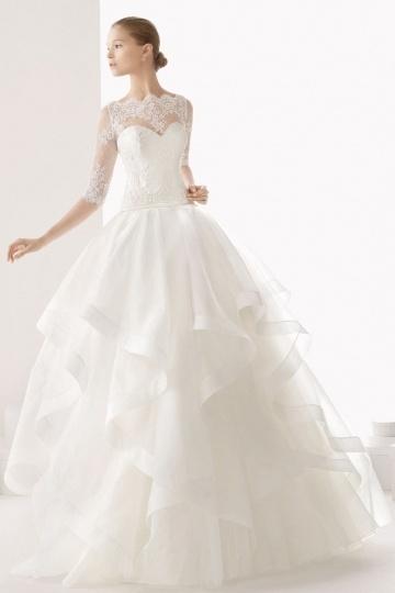 Beautiful Sheer Half Sleeves Ruffles Organza Wedding Dress Online Persun