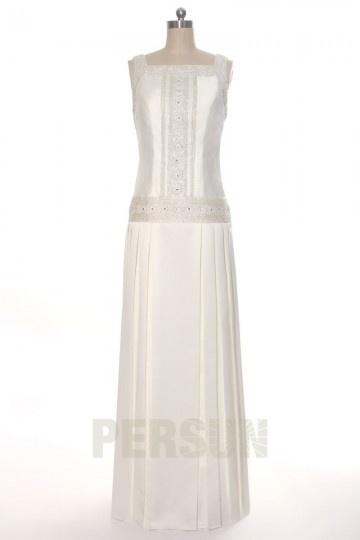 Carré-Ausschnitt Etui-Linie langes ivory Brautkleider Persun