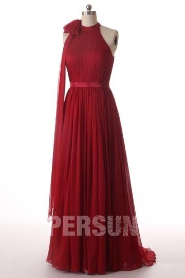 Schlichtes langes rosa Stehkragen Brautkleider Persun