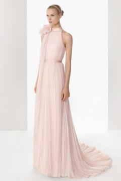 Robe rose pastel pour mariage à col montant