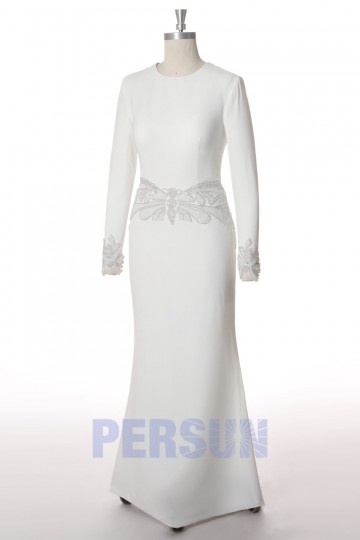 Sheath Scoop Beading Jerssy Church Wedding Dress With Long Sleeves