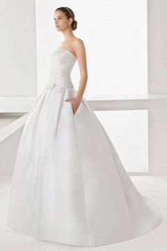Vintage Ball Gown Satin Bowknot Wedding Dress with Lace Wrap