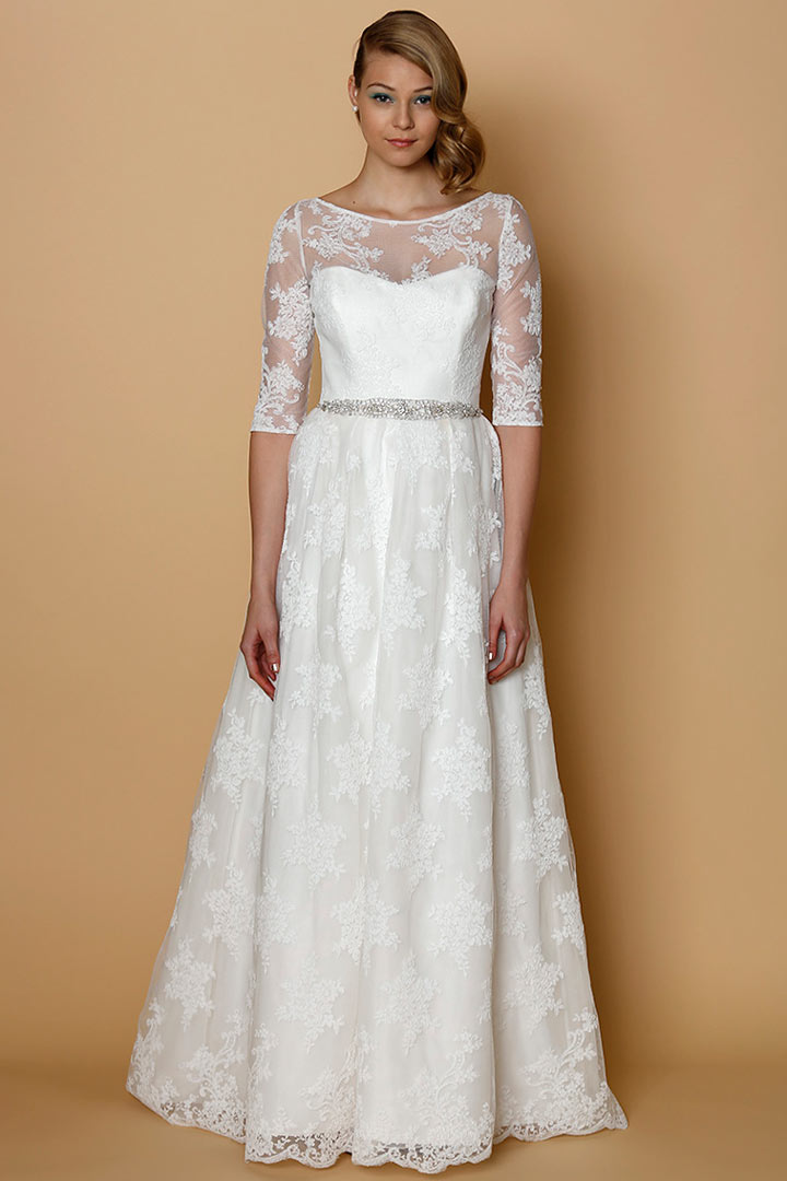 Sexy a line bateau floor length lace wedding dress with for Wedding dresses with half sleeves