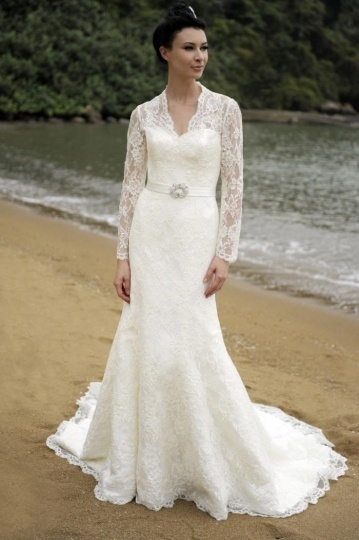 Sexy Mermaid V Neck Long Sleeve Ivory Lace Wedding Dress With Court Train