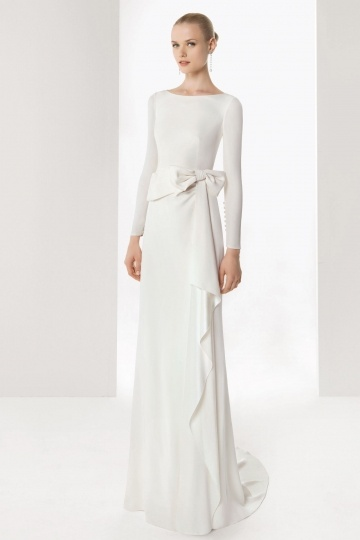 Modern Sweep Column Scoop Crystal Linen Wedding Dress With Long Sleeves
