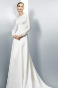 Modern A Line Bateau Court Train Ivory Satin Wedding Dress With Long Sleeves