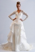 Chic A Line V Neck Long Sleeve Ruffles Ivory Lace Wedding Dress With Court Train
