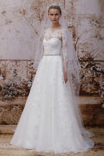 A Line Jewel Brush Train Beading Ivory Lace Wedding Dress With Long Sleeves