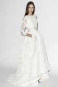 A Line Scoop Ivory Lace Wedding Dress With ¾ Length Sleeves