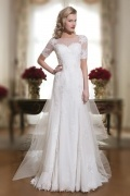 Court Train A Line Bateau Appliques Ivory Chiffon Wedding Dress With Short Sleeves