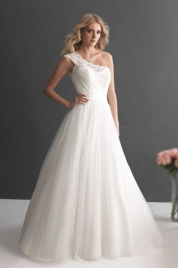 Dressesmall Chic A Line One Shoulder Floor Length Ivory Tulle Wedding Dress