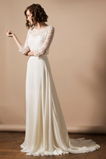 Court Train A Line Scoop Ivory Chiffon Wedding Dress With ¾ Length Sleeves