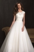 Cap Sleeves A Line Scoop Sequins Ivory Tulle Wedding Dress With Court Train