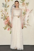 Floor Length A Line Jewel Flowers Ivory Lace Wedding Dress With Long Sleeves