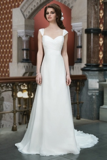 Court Train A Line Sweetheart Ruching Ivory Chiffon Wedding Dress With Bow