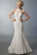 Chic Mermaid High Neck Appliques Ivory Lace Wedding Dress With Court Train