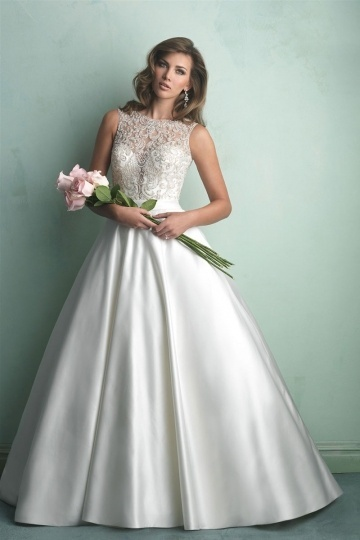 Chic A Line Jewel Court Train Sequins Ivory Satin Wedding Dress With Appliques