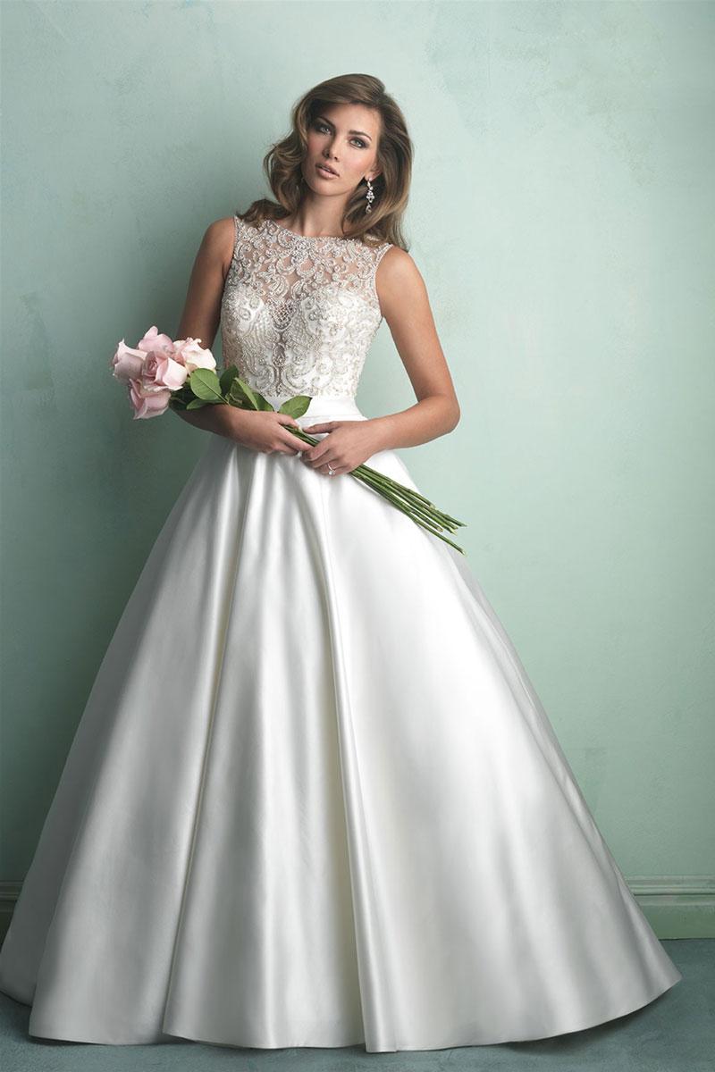 Schönes A-Linie Ärmelloses Ivory Brautkleider aus Satin