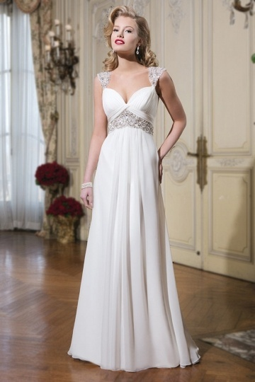 Ruching Cap Sleeves A Line Sweetheart Ivory Chiffon Wedding Dress With Sequins