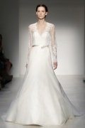 Chic V Neck Long Sleeves Organza Ivory Bridal Gown