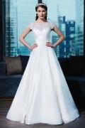 Gorgeous Satin Scoop Princess Style Ivory Bridal Dress