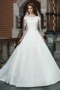 Chic Scoop Satin A Line Court Train Ivory Wedding Dress