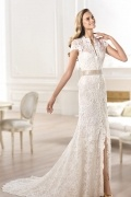 Modern V Neck Trumpet Lace Cap Sleeves Ivory Bridal Gown