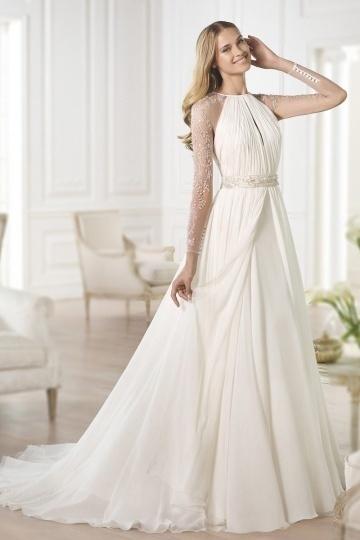 Ivory A-Linie Reißverschluss Chiffon Brautkleider mit Ärmeln Persunshop