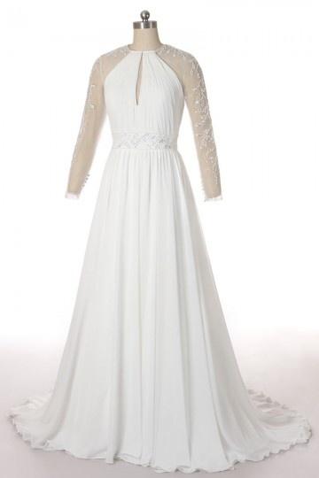 Sexy Jewel Long Sleeves Embroidery Chiffon Ivory Bridal Dress