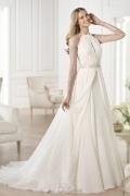 2016 Elegantes Ivory transparentes A-Linie Brautkleider aus Chiffon