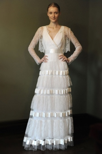 Chic Lace A Line Long Sleeves Ribbon Iovry Wedding Dress