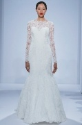 Chic Bateau Long Sleeves Mermaid Lace Wedding Dress