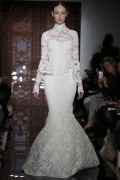 Modern High Neck Lace Sweep Train Lace Ivory Wedding Gown