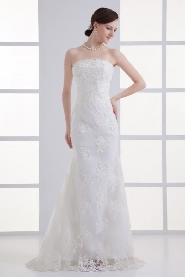 Chic Sheath Outdoor Lace Strapless Brush Train Wedding Dress Dressesmall
