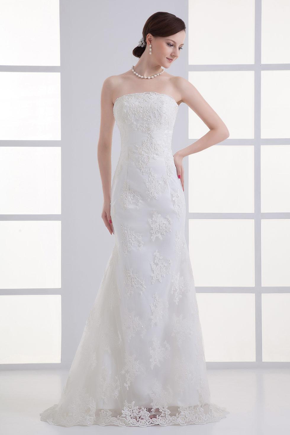 Günstig Elegantes langes weißes Etui-Linie Trägerloses Brautkleider ...